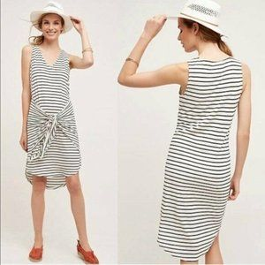 Dolan Stripe Tie Front Dress White Black L Petite